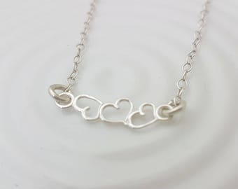 3 heart necklace sterling silver, triple heart necklace for girlfriend, three heart bar necklace