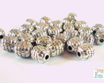 20 beads oval silver plated nickel 5x6mm (pm123)