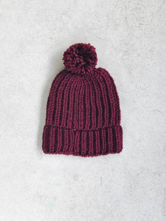 CUSTOM Burgundy Fishermans Ribbed Baby Beanie Fall Hat with aa37359af4f