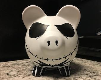 Jack Skellington Nightmare Before Christmas Hand Painted Ceramic Piggy Bank Medium