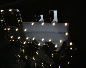 "12""Black metal Light up train night light kids bedroom novelty decor batteries operated birthday baby shower decor"