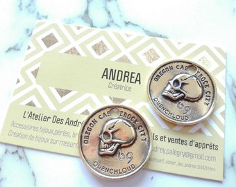 Set of 2 pretty skull pendant ☆ / flat/round / antique gold / 28 x 2.5 mm☆