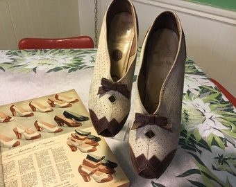 Comfortable vintage 1940s 1930 size 10 9 1/2 two tone brown and cream heels