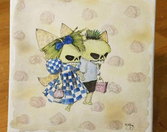 Zombie butterfly couple, low brow art,  zombies, blue checkered dress, holding hands, couple, wedding gift