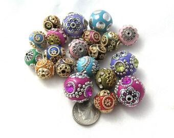 20 Asst. Size/Colors Handmade Indonesian Kashmiri Beads (310D)