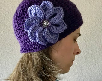 Pretty in Purple Adult Hat With Large Flower Embellishment