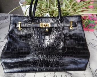 "Faux leather handbag, Black handbag look ""Kelly"",vintage handbag"