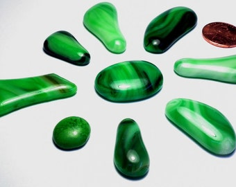 Green Glass Kiln Formed Mosaic Tiles 9 Pieces (490)