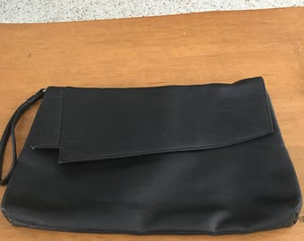 80's Epic Vintage soft black clutch with wrist strap-