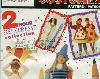 1990s Simplicity 7921 Childrens Costume Sewing Pattern Crayon Pencil Pie Pizza Candy Corn Toothpaste UNCUT