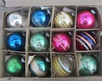 One Box 12 Mixed Vintage Glass Christmas Tree Ornaments Retro Ornaments Mid Century Christmas Ornaments Shiny Brite