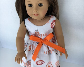 18 inch white and orange Star Wars doll dress, made to fit 18 inch dolls such as American Girl and other similar dolls.
