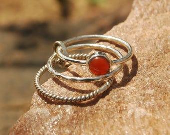 Natural Carnelian Ring - Gemstone Ring - Stacking Ring - Gemstone Jewelry - Handmade Jewelry