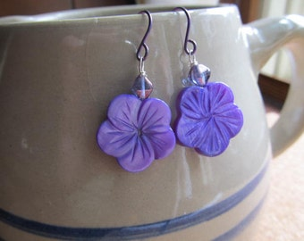 Ultra-Violet, Purple Mother of Pearl  Earrings , Carved Hibiscus Flower, Niobium Hypo Alleregenic Ear Wires, Sterling Silver and Clip-on
