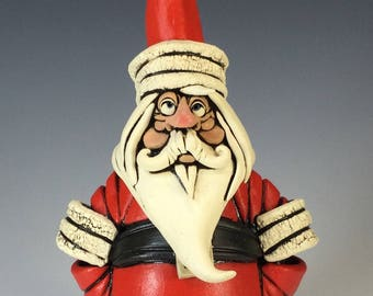 Santa Stoneware Sculpture • Free Shipping