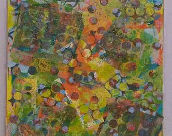 """18"""" X 24"""" Abstract Paper on Canvas Mixed Media Collage by Charles Davis"""