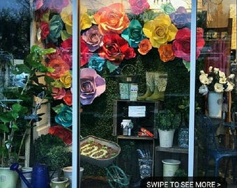 Window display, Giant Flowers, Wedding flowers, wedding decor, Photo booth props
