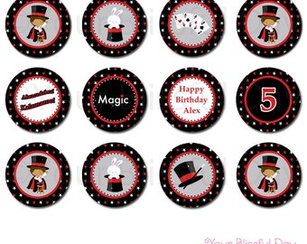 PRINTABLE Boy Magic Show Party Circles (Personalized) #550