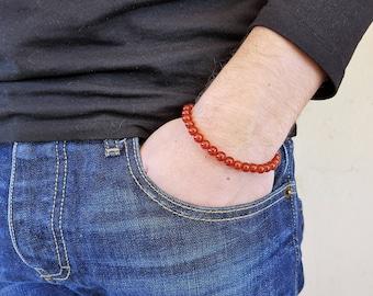 Carnelian Bracelet, Gemstone Bracelet, Mala Bracelet, Prayer Beads, Men Bead Bracelet, Men Mala Bracelet, Yoga Bracelet, Spiritual Bracelet