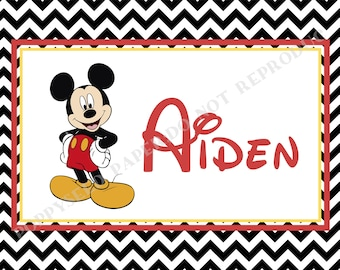 Mickey Mouse laminated placemat- Disney placemat- personalized