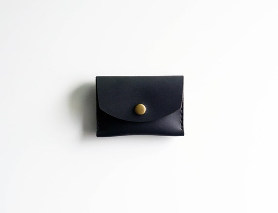 Black leather card wallet, coin holder, key carry