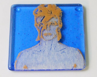 David Bowie on blue -  Fused Glass Coaster