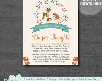 Forest Animals Diaper Thoughts Baby Shower Game Printable Green and Orange, Late Night Diapers, Woodland Animals, Deer, Fox, 1F