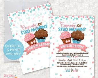 Cupcake or Stud Muffin Gender Reveal Invitation, Printable Party Invitation | 5x7 | Print at home | Gender Reveal | Digital File
