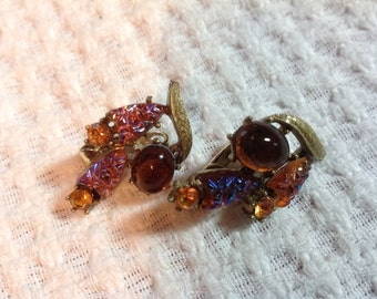 Vintage Amber Earrings, 50's Clip On Earrings,  Aurora Borealis Earrings,  Coro Earrings, Amber  Rhinestones