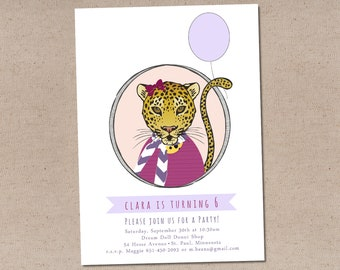 Cheetah Girl Portrait Party Invitation