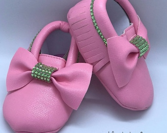 Pink Baby Moccasin Shoes With Swarovski Crystals