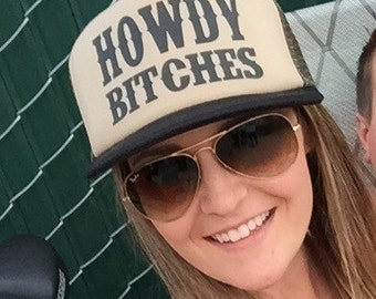 Howdy B*tches Trucker Hat Mesh Camping Desert Riding Country Women's
