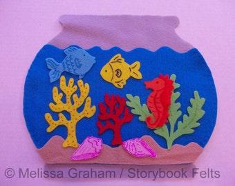 SHOP CLOSING SALE - Felt Fish Bowl Set With Fish Plants Sand And Fish Bowl 10 Piece Set