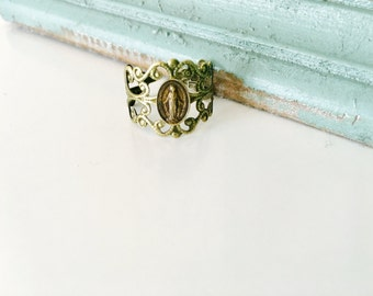 Miraculous Medal ring, adjustable ring, brass ring, saint, Catholic jewelry
