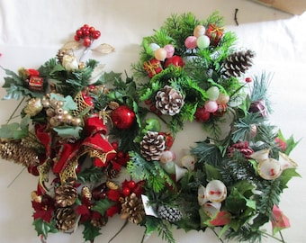 Lot of Vintage Christmas Floral Picks and Ornaments