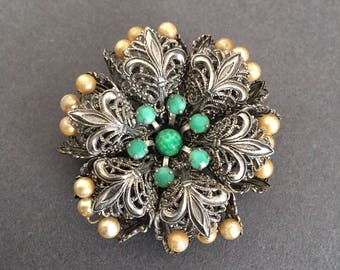 Art Deco  Brooch Pin Green Glass Beads Faux Pearls and Filigree Look silver metal