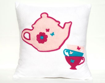 Tea Party Eco-Felt Pillow Cover - 18 inches - Baby Pink, Shocking Pink, and Turquoise