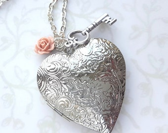 Large Silver Heart Locket Necklace with Tiny Blush Rose and Key, Photo Locket, Hidden Message, Mother's Day, Love, Beauty and the Beast
