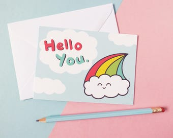 Hello You Card, Greetings Card, Thank You Card, Rainbow Cloud, Happy Birthday, Snail Mail, Pen Pal, Valentines, Kawaii Card, Anniversary