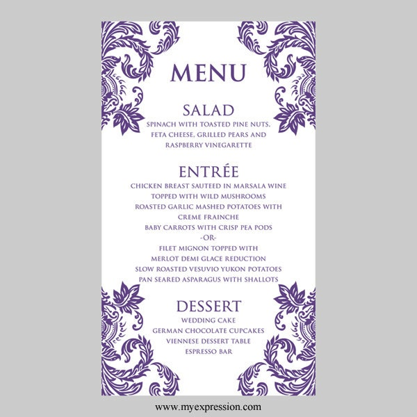 wedding menu cards template Josemulinohouseco