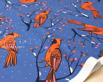 Cotton + Steel Frost - winter cardinals - blue - 50cm