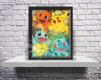 Pokemon Go Inspired Fan Art poster print choose Size