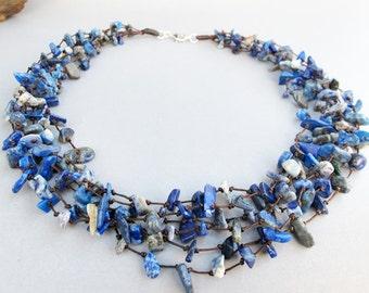 Lapis Lazuli Necklace - Lapis Lazuli Chip Stone Multi Strand Necklace