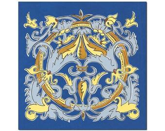 12x12 Matted Art Print Blue Illumination#2, Home Decor Giclee Wall Art,  Symmetrical Scroll Pattern, Royal Blue, Yellow Gold, Slate Blue
