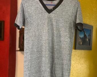 Thrashed Paper Thin Vintage 70's Vneck Ringer Tshirt