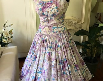 1950s Party Dress 50s Vintage Dress Jerry Gilden Watercolor Flowers ponk purple blue red green tea party dress prom 50s wedding