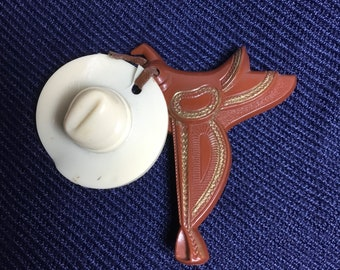 1930s Cowboy Saddle and Hat Broach