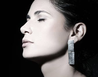 Rectangular earrings, long silver earrings, geometric earrings,hammered silver earrings,statement earrings, dangle earrings,texture earrings