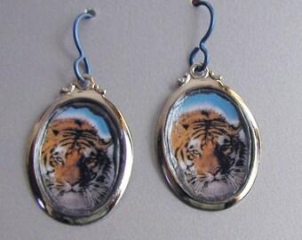 Big Kitty TIGER Cat Love Earrings