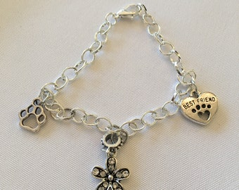 Dog Lovers Charm Bracelet Chain Link